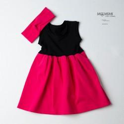 Tmavě růžové šaty s černou