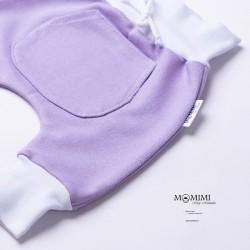 Tepláčky fialové s bílou