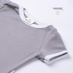 Body krátký rukáv šedé s bílou